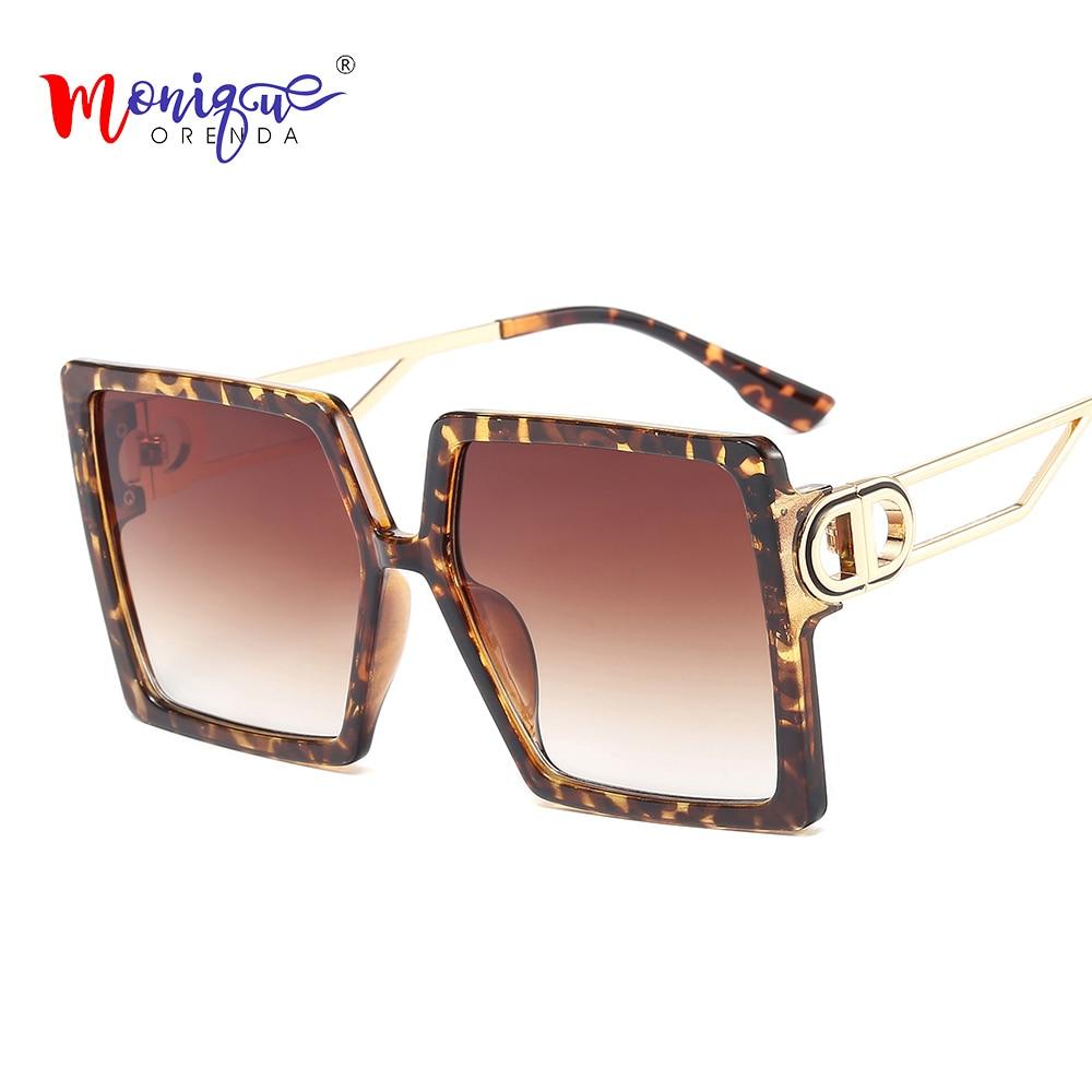 Nova Mulher Óculos Quadrados Óculos de Armação De Metal Óculos de Leopardo Impressão de Grandes Dimensões Moda Gradiente Gafas de Óculos UV400 Sombra