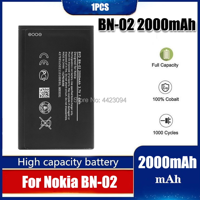1pc <font><b>BN02</b></font> BN-02 2000mAh Replacement Battery For Nokia XL/XL 4G RM-1061 RM-1030 RM-1042 BYD BN-02 image
