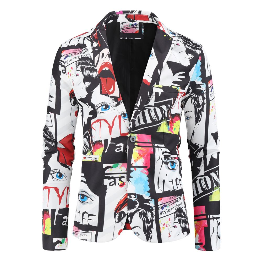 New Men's Fashion Suit Party Coat Casual Slim Fit Blazer Buttons Suit 3D Floral Print Painting Blazers Jacket Men