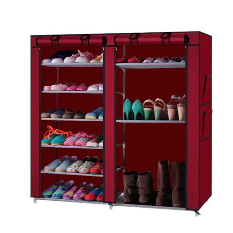 6 rangées 2 lignes 12 grille Non-tissé étagère à chaussures vin rouge empêcher ces longues familles de chasser les chaussures manquantes