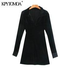 KPYTOMOA femmes 2020 mode noir velours ajusté Mini chemise robe Vintage col en V à manches longues femmes robes Vestidos Mujer