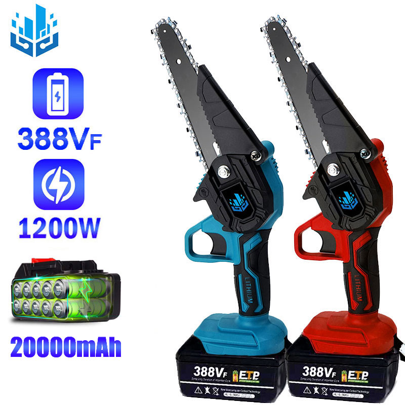 6 Inch 1200W Wireless Electric Chainsaw 4 Inch 1000W Mini Pruning Electric Saw 20000mAh Lithium Battery for Makita 18V Battery