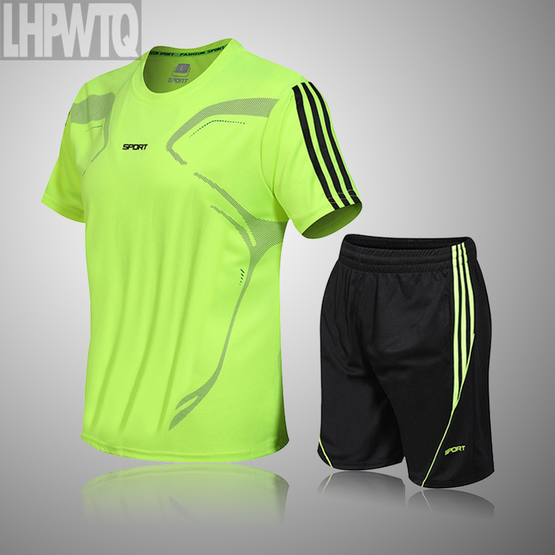 Brand Men's Sportswear Kit Short Sleeve Sports Sport Shirt Men Running 2pcs Suit For Soccer Gym Fitness Men T-Shirts+Shorts Sets 1