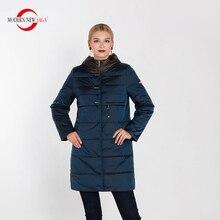 Nueva SAGA moderna 2019 nueva moda para mujeres Abrigo con capucha de cuello alto y chaqueta de algodón fino acolchado Parkas para mujeres abrigo largo Delgado