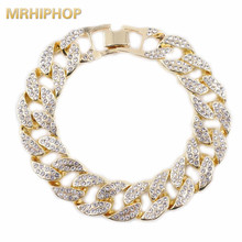 цена на hip hop bracelets necklace for rapper Gold color 16mm crystal miami cuban chain bracelets mens jewelry iced out bling one row