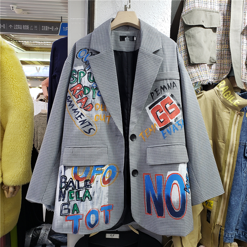 Spring New Letter Print Blazer Crowd Graffiti British Style Sub-casual Loose Suit Women's Coat Hong Kong Wind Blazer