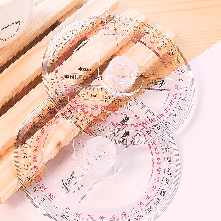 Plastic 360 Degree Protractor With Swing Arm Math Protractors For Angle Measurement Student School Office Supply, Clear