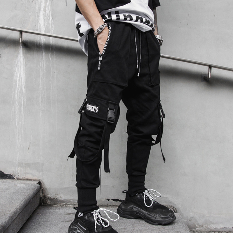 2020 new hip-hop jogger men's black harem overalls multi-pocket ribbon men's sports pants streetwear casual men's casual pants(China)