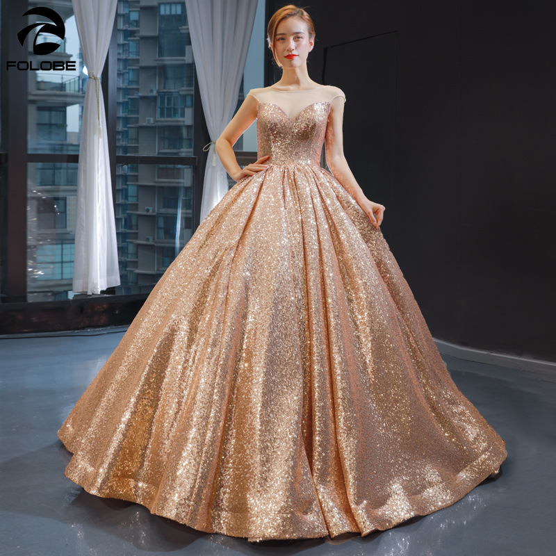 2020 New Sparkly Sequins Ball Gown Evening Dress Sheer Neck Cap Sleeve Floor Length Formal Red Carpet Party Dresses Vestidos