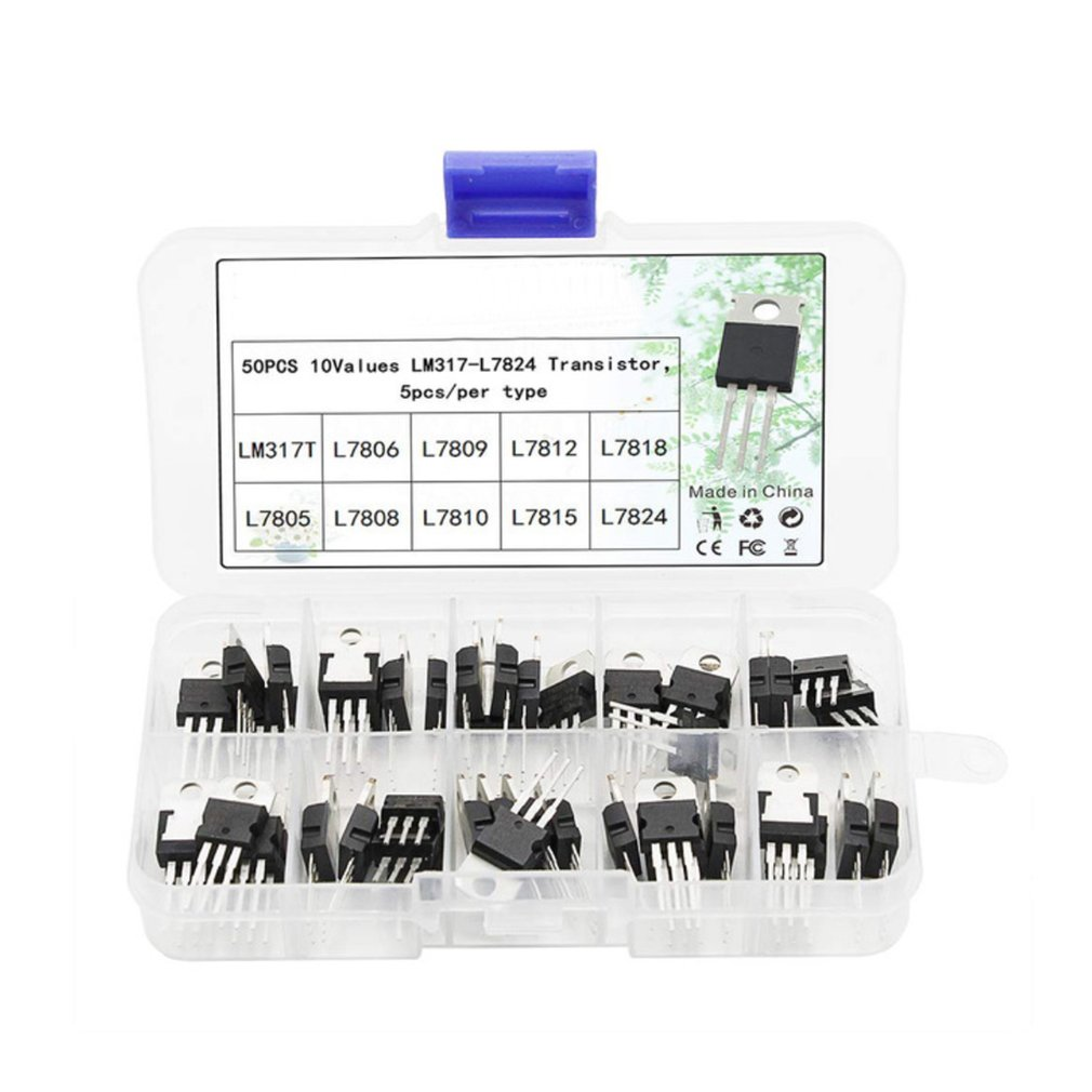 50PCS Voltage Regulator Box Transistor Assortment Kit 10 Value LM317T L7805 L7806 L7808 L7809 L7810 L7812 L7815 L7818 L7824
