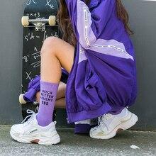 цена на Fashion Letter Printed Cotton Crew Socks Men Women Hip Hop Streetwear Sports Skateboard Long Socks Comfortable Soft Couple Socks