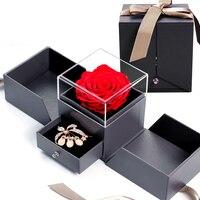 Caja de joyería con rosas artificiales para niñas, caja de almacenamiento de collares, regalo de cumpleaños y boda, color rojo y rosa para el Día de San Valentín