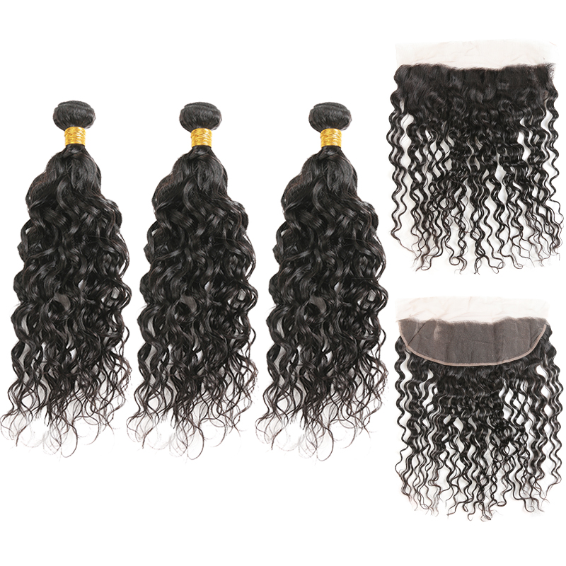 Water Wave Human Hair Bundles With Frontal 13*4 SOKU Natural Color Brazilian Hair Weave Bundles With Lace Frontal Non Remy Hair-in 3/4 Bundles with Closure from Hair Extensions & Wigs    1
