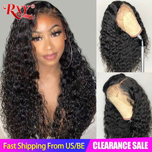 Wig Curly Human-Hair-Wigs Lace-Frontal Women Black RXY for Remy 360