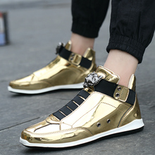 New Men's High Top Sneakers Brand Fashion Glossy Leather Cas