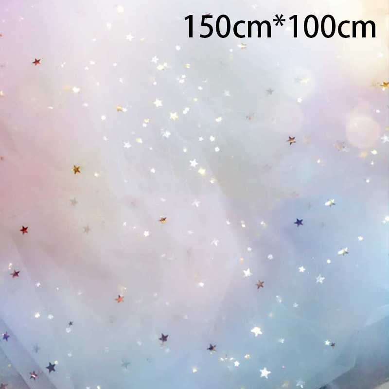 150cm * 100 cm/pc Shiny Star Mesh Tulle Stof DIY Mantilla Naaien Levert Mooie Trouwjurk Kleding decoratie Materiaal