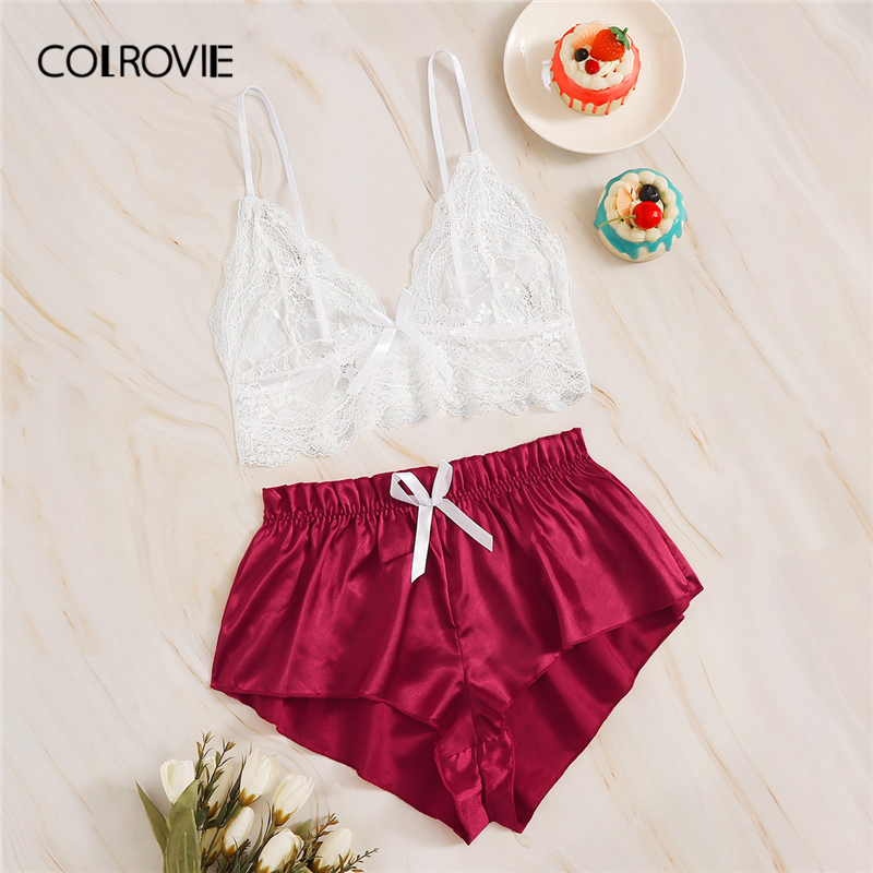 COLROVIE Floral Lace Bralette With Satin Shorts 2019 Sheer Sexy Sets Women 2019 New Stretchy Ladies Lingerie Sets