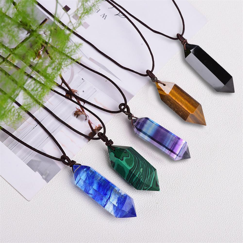 100% натуральная флюоритовая подвеска, кристалл, аметист, драгоценный камень, шестигранный, острый, рейки, чакра, кулон, целебные камни, ожерел...