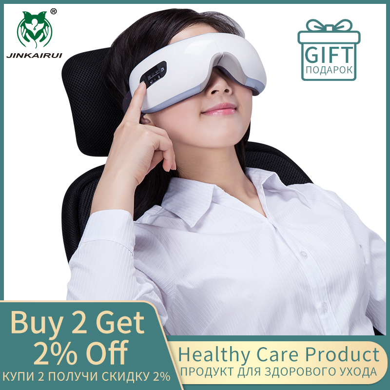JinKaiRui Wireless Rechargeable Eye Massager Far-infrared Heating Compression Therapy Massagem Device Relaxation With Mp3