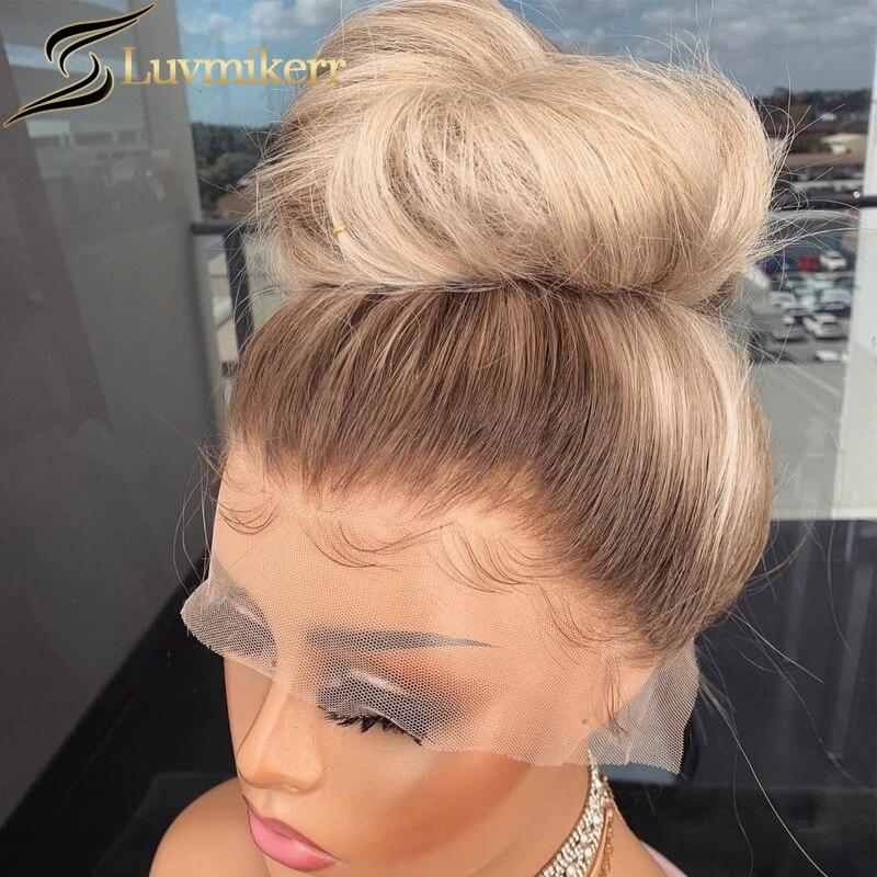 Hd ombre transparente marrom 13x6 loira onda do corpo peruca dianteira do laço cor cheia 613 laço frontal preto feminino 360 peruca de renda preplucked