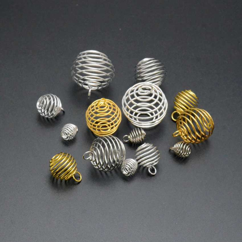9/15/20/25mm Necklaces Pendants Vintage Spiral Bead Cages DIY Pendant Jewellery Findings