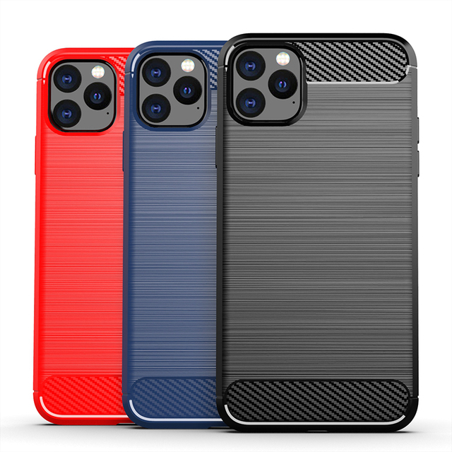 Funda de silicona suave para iPhone, carcasa de fibra de carbono para iPhone X XR XS 11 Pro max 6 6s 7 8 plus