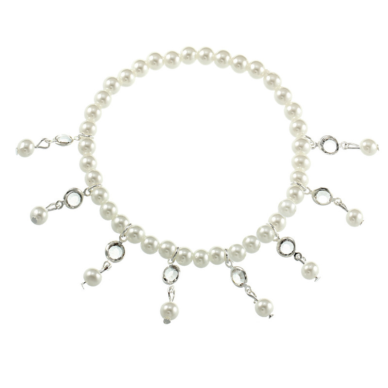 Women Silver Gold Anklet Crystal Pearl Pendant Stretch Anklets Ankle Bracelet Leg Chain Beach Foot Jewelry Holiday Accessories