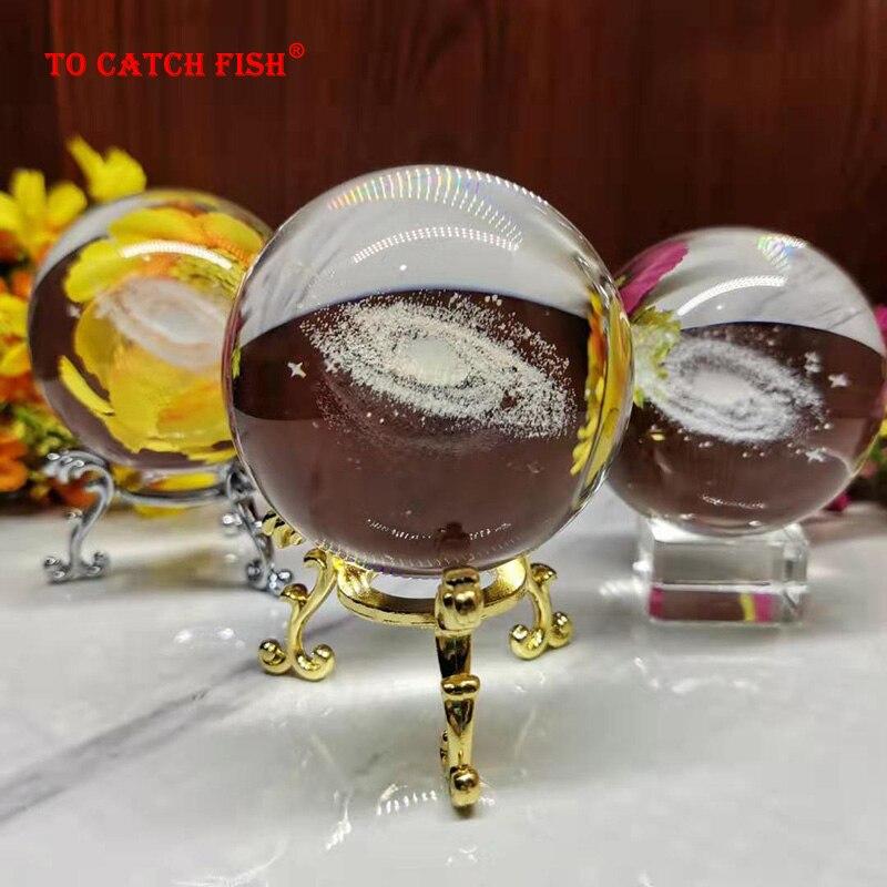 6CM Durchmesser Globe Galaxy Miniaturen Kristall Ball 3D Laser Gravierte Quarz Glas Ball Kugel Hause Dekoration Zubehör Geschenke