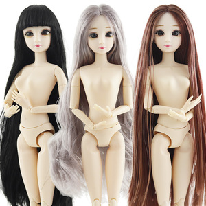 New 30cm 20 Movable Jointed Dolls Toys Cute 3D Big Blue Eyes Female Naked Nude Doll Head Body Fashion Hair Doll Toy For Girls(China)