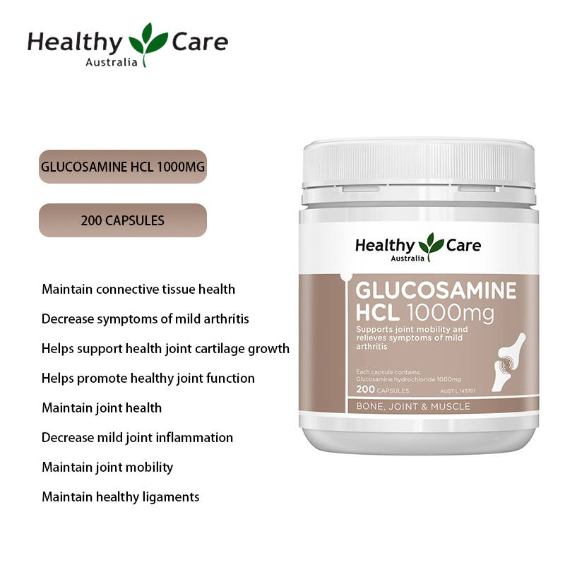 Healthy Care Glucosamine HCL 1000mg 200 Capsules Glucosamine Hydrochloride Maintain Joint Tendon Health Mobility For Adult