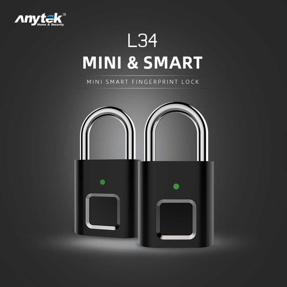 Anytek L34 スマート指紋南京錠ミニセキュリティ usb 充電式キーレスドアのロッカーバッグスーツケース
