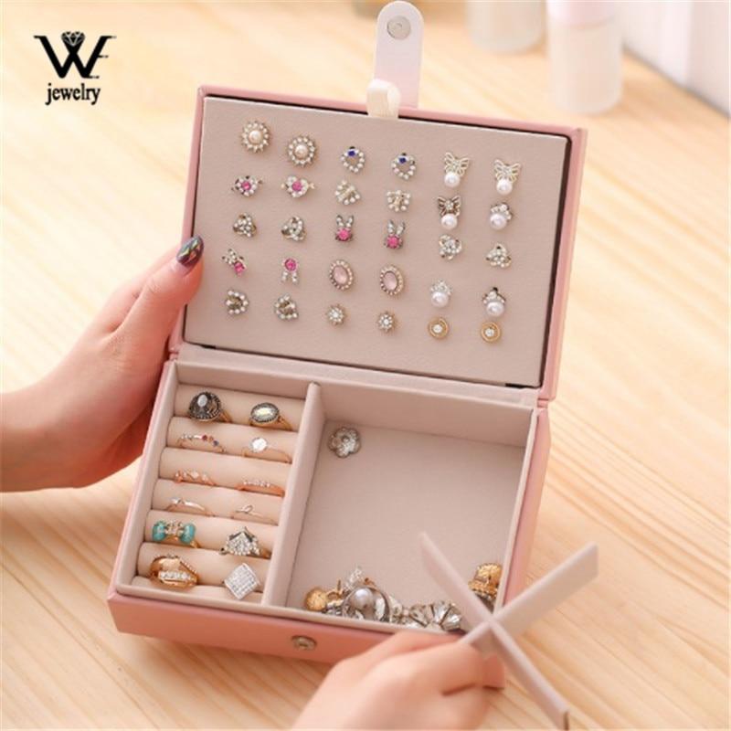 WE Lady PU Leather Universal Jewelry Organizer Display Travel Jewelry Case Boxes Portable Jewelry Box Button Leather Storage