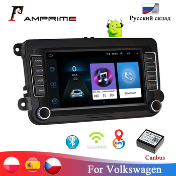 AMPrime 7 2 dinAndroid Car Multimedia player Autoradio For Skoda VW Passat B6 Polo Golf 4 5 Touran Seat For Volkswagen Radio image