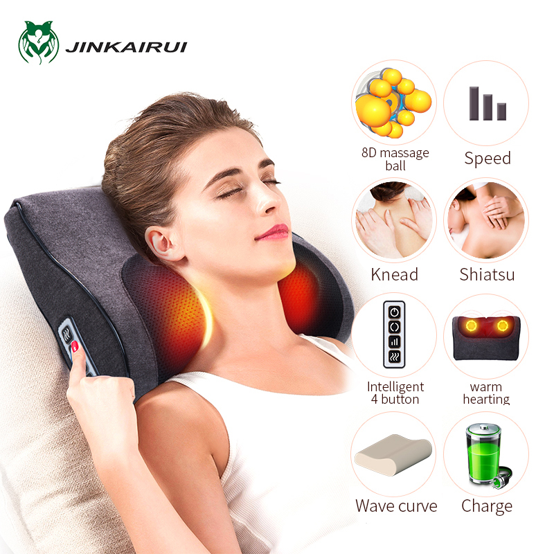 JinKaiRui Shiatsu Knead Rechargeable Neck Massager Pillow Wave Curve Home Car Dual-use Massage healthy Massagea For Shoulders