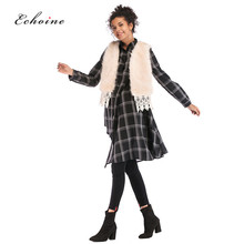 Echoine Faux Fur Vests Cardigan Tops Sleeveless Stylish Party Sexy Lace Patchwork Wide-Waisted Fit Highstreet Casual Women Coats