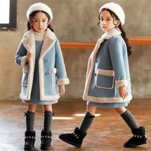Кашемировое пальто для девочек Новинка года; куртка с мехом для девочек; куртка для девочек; кашемировое шерстяное пальто