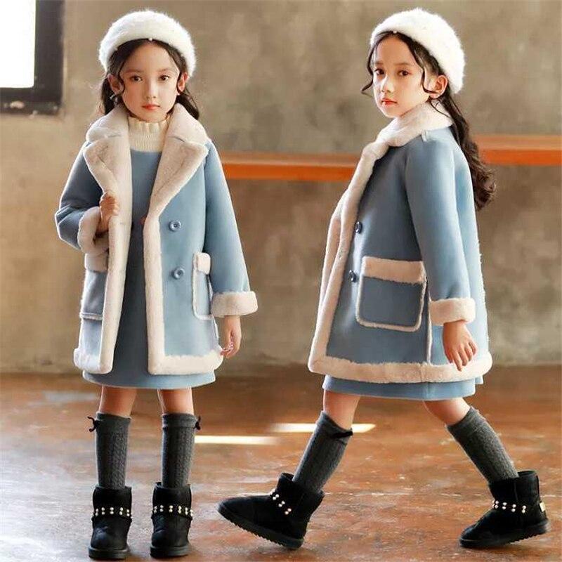 Mädchen kaschmir mantel 2019 neue große kinder fell mädchen ausländischen jacke wasser jacke kaschmir mantel woolen mantel