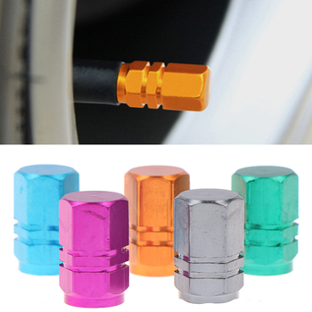 4pcs Aluminum Alloy Dust Valve Cap Bicycle Auto Car Tyre Wheel Hexagon Cover Set image