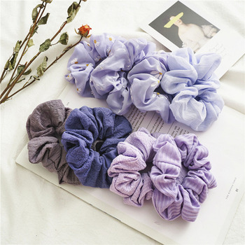Purple Daisy Scrunchie Hairband Women Girl Elastic Hair Rubber Bands Hair Accessories Headband Gum Hair Tie Rope Ponytail Holder cute cartoon girl mickey hair rope minnie doll anime daisy donald headband for kid knotted hair loop women holder headdress gift