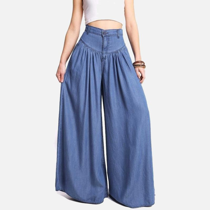 High Waist Zipper Wide Leg Denim Women Pants Jeans Casual Floor Length Loose Ladies Elegant Spring Longs Feminine Skirt Trousers
