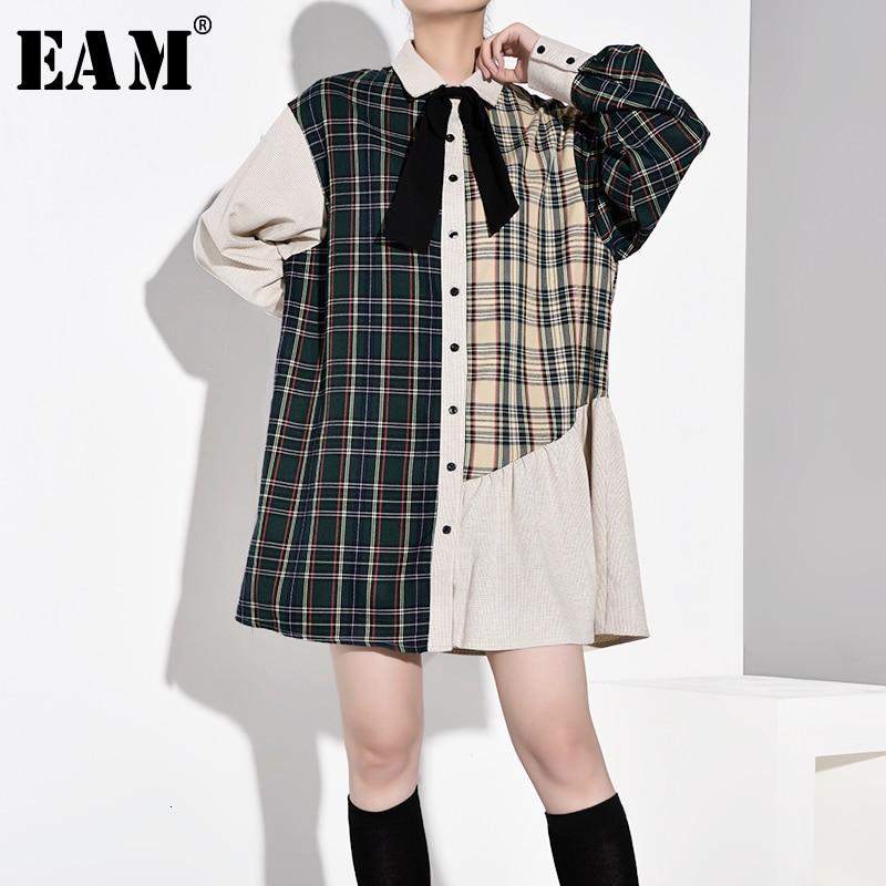 [EAM] Women Plaid Bandage Bow Pleated Big Size Dress New Lapel Long Sleeve Loose Fit Fashion Tide Spring Autumn 2020 1B7570