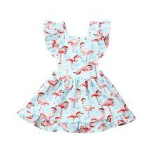 Girl Dress 2019 Toddler Newborn Baby Girl Princess Sleeveless Flamingo Print Sleeveless Party Dress Xmas Dresses flamingo print v back drop waist dress