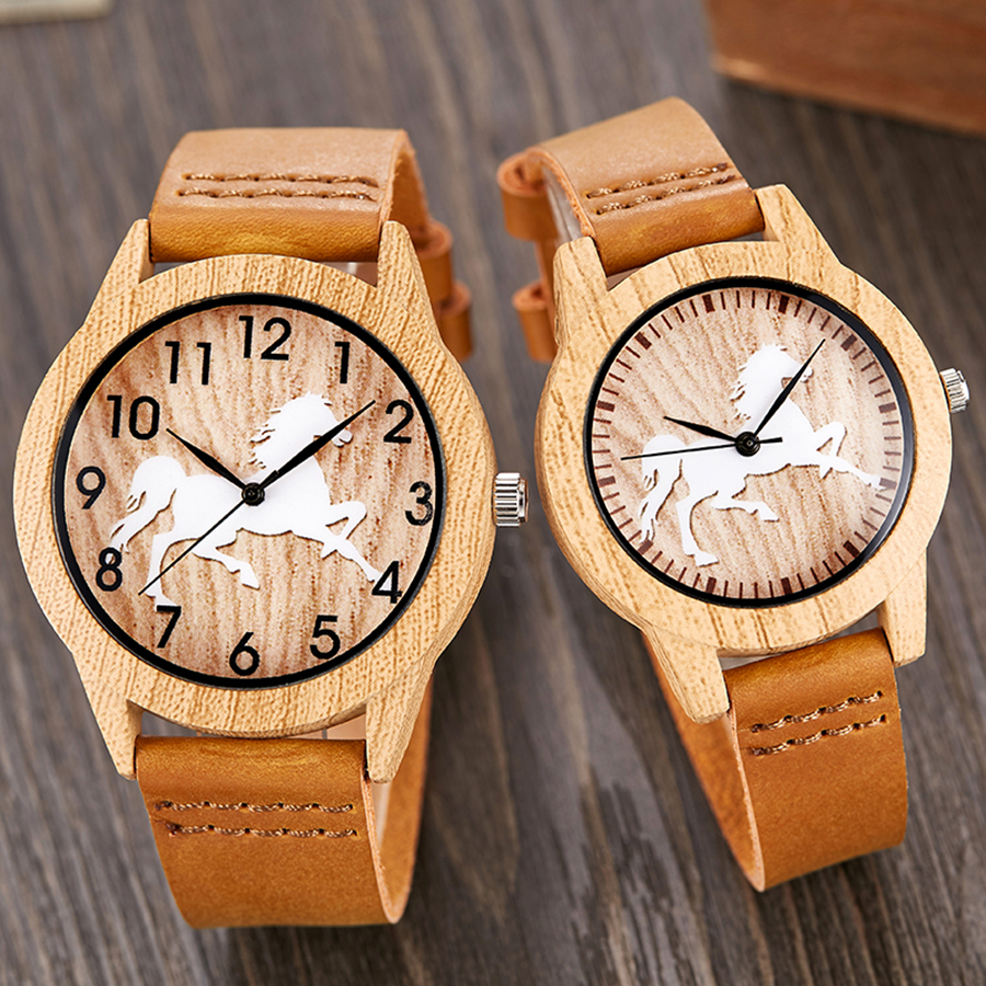 Vintage Imitation Wood Watch Horse Men Women Imitate Wooden Wristwatch Soft Leather Band Male Quartz Wrist Clock Reloj