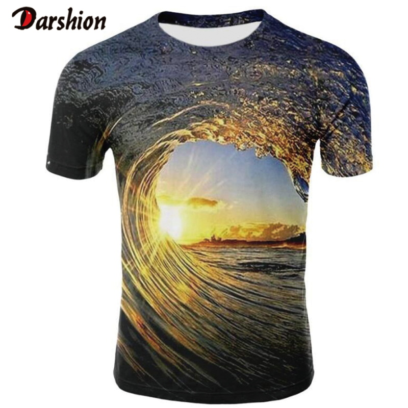 New Casual  Men 3D T-shirt Casual Short Sleeve O-Neck Fashion Nature Sea Printed 3D T-shirt Men Tees High Quality Brand Clothing