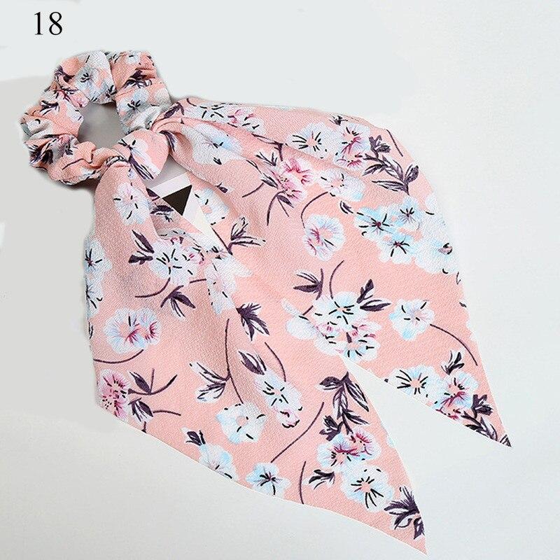 Femmes banderoles chouchous à pois imprimé Floral élastique noeud cheveux corde fille cheveux cravates coréen doux cheveux accessoires chapeaux 40