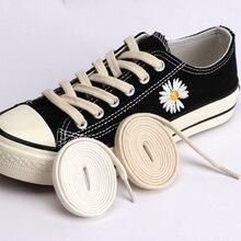 Cotton Flat Shoelaces Classic Retro Double weave Shoelace Women And Men Canvas Sneakers Sports Shoes White Black Shoe Laces