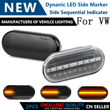2 pçs led indicador lateral dinâmico marcador luz de sinal sequencial piscando lâmpada para vw passat golf 3 4 bora besouro polo sharan
