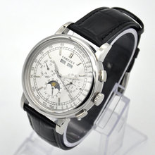 42 שלב ירח שעון גברים שבוע לוח שנה שנה חודש אוטומטי מכאני часы мужские механические montre homme 316L נירוסטה stee