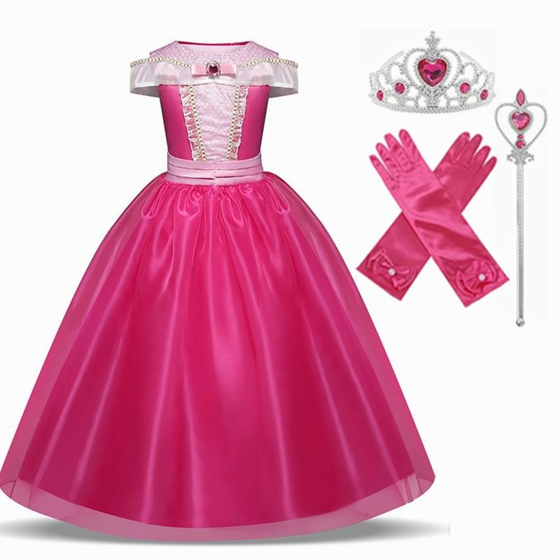 Sleeping Beauty Elsa Cosplay Costume Princess Anna Elsa 2 Girls Dress Kids Dresses For