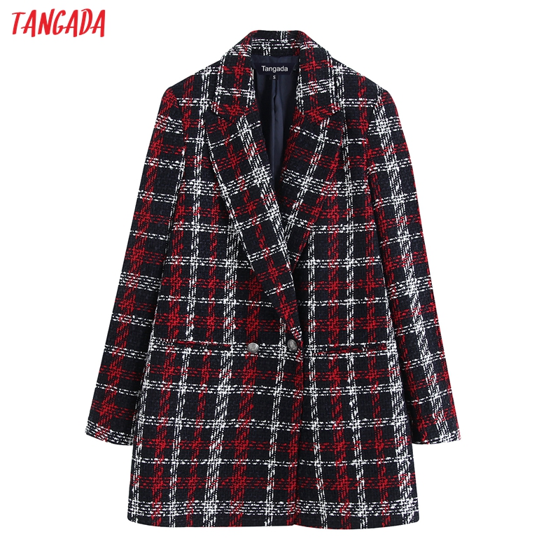 Tangada Women Thick Tweed Coats Jacket Red Plaid Loose Long Sleeves Pocket 2019 Ladies Elegant Autumn Winter Coat BE18